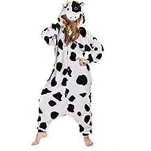 Pijamas Mujer Hombre-Disfraces Anime Cosplay Ropa de Dormir Franela de una Pieza, Vaca M