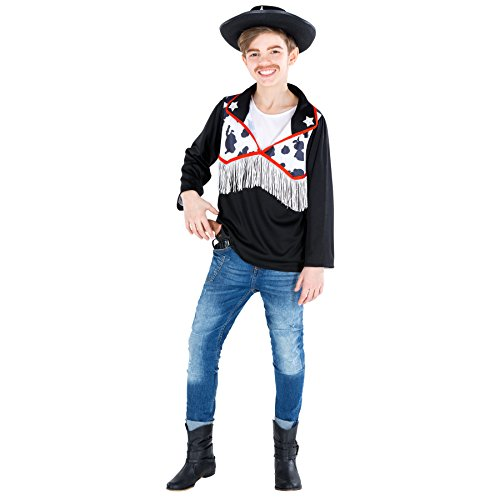 TecTake dressforfun Jungenkostüm Cowboy   Sheriff Hemd in Kuhfelloptik   2-Stern-Applikationen am Kragen (5-7 Jahre   Nr. 300533)