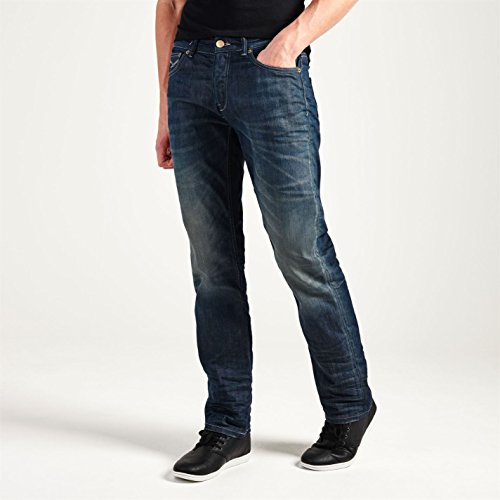 Firetrap Mens Dark Jeans Straight Denim Trousers Casual Pants Bottoms