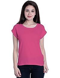 Edgemeter Dark Pink Round Neck Solid Plane Folding Sleevs T-shirt