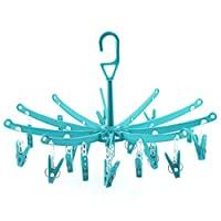 HANGERWORLD Plastic 20-Peg Foldable Indoor Sock Dryer, Light Blue