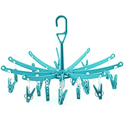 Hangerworld Séchoir 45cm x 29cm en Plastique Pliable Vert à 20 Pinces à Linge pour sous-Vêtements