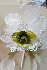 Set 17 pezzi, Bomboniera bouquet fiore stoffa e merletto con racchettine x segnaposto, PORTACONFETTI (ck2084) (VERDE)