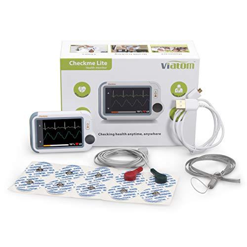 MedX5 (Upgrade 2019) 2,4\'\' Touch Display, wireless Herzfrequenzmesser oder mit Klebeelektroden, EKG Gerät mit SpO2 Messung & Blutdruckmessung, deutsche Menüführung und Anleitung