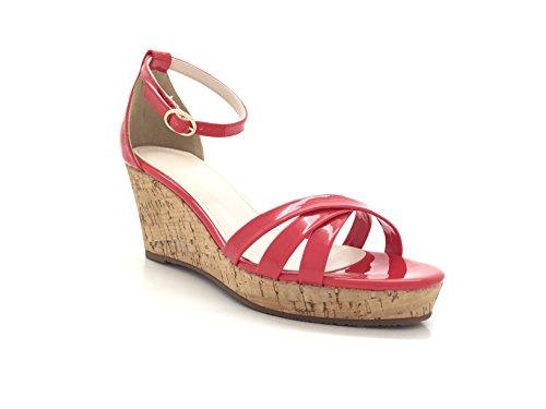 CHICNANA . Sandale vernis compensée tréssée en effet liège. Rouge