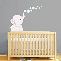 Elephant Nursery Sticker Bubbles Wall Art Babies Cot Decal Boys Girls Bedroom