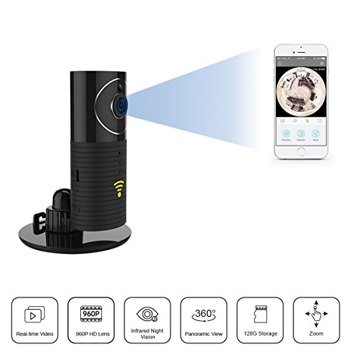 Clever dog 960P Wifi Wireless security wifi cameras Remote View Camera Panoramic Camera with Two Way Audio, Motion Sensor,Night Vision,Support TF Card (Up to128G) for iPhone Ipad Android