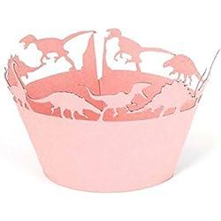 ULTNICE Casos de Cupcake Wrappers 50pcs dinosaurio papel torta Muffin hornear caso Copa Decor(Pink) fiesta de la boda