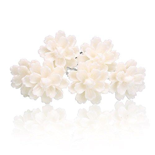 Weiße Blumen Haarnadeln Lotus Blüte Hochzeit Braut Haarschmuck Blumenhaarnadel Kommunion Haarpins Brautschmuck Duttnadeln weiß 6er Set