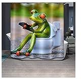 chengsan la porcelana ranas sentado en el inodoro 71x 71'resistente al moho tela de...