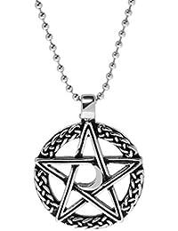 Collar De Cadena Con Cuentas Pendientes Pentagrama Diemoon Roca De Acero Inoxidable Punky