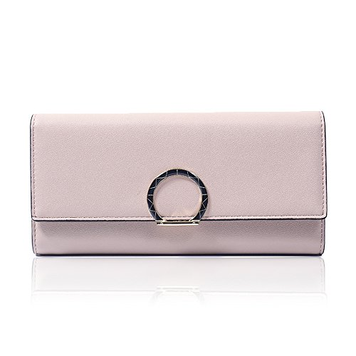 Woolala Elegant Circle Clasp Long Wallet PU Leather Trifold Large Capacity Clutch Purse for Women, Blue Pink