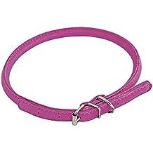CHAPUIS SELLERIE SLA699 Collar ajustable redondo GLAMOUR para perro y gato - Cuero rosa - Diámetro 6 mm - Largo 17-20 cm - Talla XS