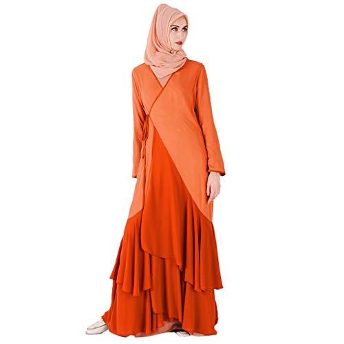 QHJ Damen Kleid Muslim Kleid Elegant Langes Abendkleid Frauen Maxi Kleid Abaya Türkei Patchwork Lange Robe Kaftan Kleidung (Orange,S) (Schal Orange Gebet)