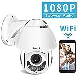 Dôme Caméra IP Extérieure WiFi sans Fil,360° HD 1080P Caméra Surveillance de Sécurité Intérieure,2-Voix Audio, Alerte Intelligente, Détection de Mouvement, IP65 Etanche,Vision Nocturne de 100ft