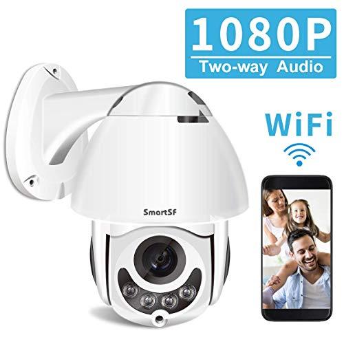 PTZ Kamera draußen, 1080P Full HD 360°drahtlose Überwachungskamera, 2-Wege-Audio, 100ft Nachtsicht, Bewegungserkennung, unterstützt iOS/Android/Windows/Mac/SD-Karte