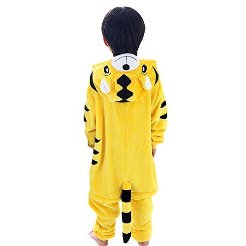 Free Fisher Kinder Jungen/Mädchen Cosplay Kostüm Jumpsuit Overall Schlafanzug Pyjama, Gelb Tiger, Gr. 110/116( Herstellergröße: - Kind Tiger Pyjama Kostüm