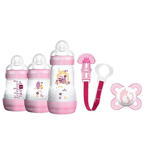 Mam 600122 - Set regalo con 3 biberon, 1 ciuccio e 1 catenina per ciuccio, bambina