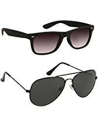 Xforia Polarized Latest Wayfarer&aviator Sunglasses For Men & Women Combo Of 2 (DX-FLX- 206 | Black& Brown | 54...