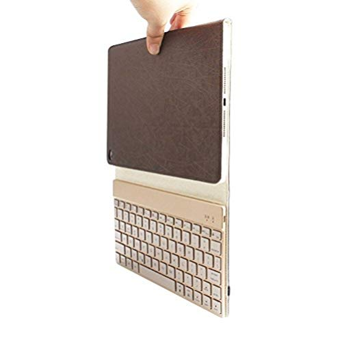 BORIYUAN iPad Air 2 Case with Keyboard, Backlit Bluetooth Keyboard Smart Cover for Apple iPad Air 2 with Magnetic Auto Sleep/Wake Feature and Stand, Coffee Brown