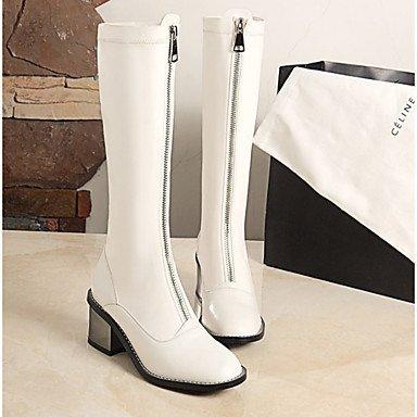 RTRY Scarpe da donna in pelle di Nappa di moda invernale Stivali Stivali Stivali Mid-Calf per Casual Bianco Nero US7.5 / EU38 / UK5.5 / CN38
