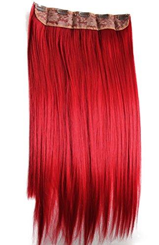 Prettyshop xxl 5 clips one piece di clip in extension parrucche dei capelli lisci a pelo lungo 60 cm rosso # 3100 c61
