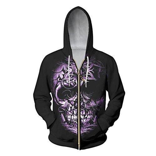 Winter Herbst Casual Herren Zipper Hoodie Flower Metal Totenkopf Hip Hop 3D-Sweatshirt Men Hoodies Zip Hooded Jacket 6XL Schwarz XL