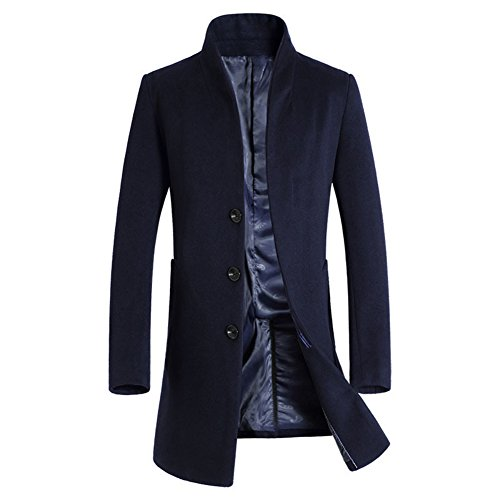 iPretty Wolljacke Herren Slim fit Mantel Lang Jacke Herbst Männer Trenchcoat Business Navy