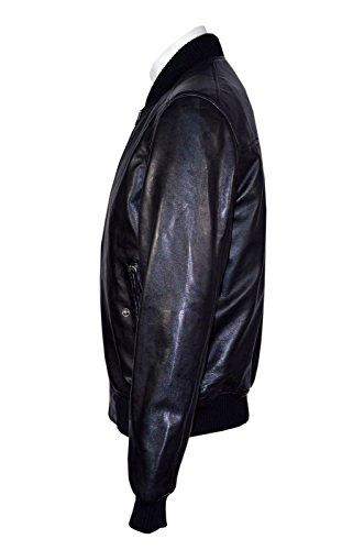 1229 70 Retro- BOMBER Herren Tan Classic Soft Nappa -Lederjacke Italienisch Black