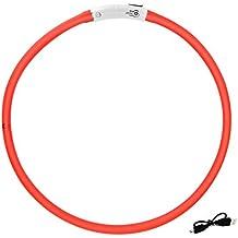 Sijueam® Collier Lumineux pour Animaux Chiens USB LED rechargeable étanche anti-traction avec 3 modes de clignotement, longueur maximale 70cm / 27.5 pouces, Réglable avec câble de chargement - Rouge