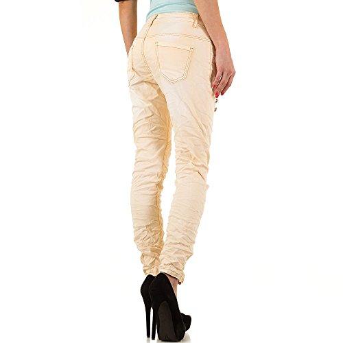 Used Look Hüft Boyfriend Skinny Jeans Für Damen Creme KL-J-B227-B