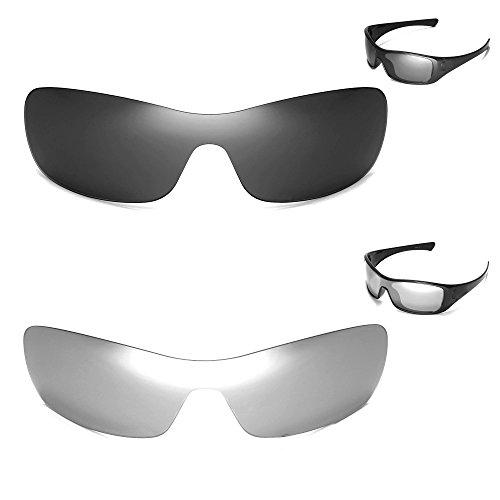 Walleva polarisierte schwarze Gläser + Titangläser für Oakley Antix