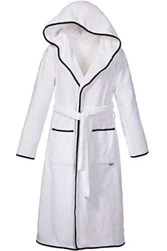 Sowel Bademantel Premium Extra Lang aus 100% Baumwolle mit Kapuze und Seitentaschen Weiß/Navy