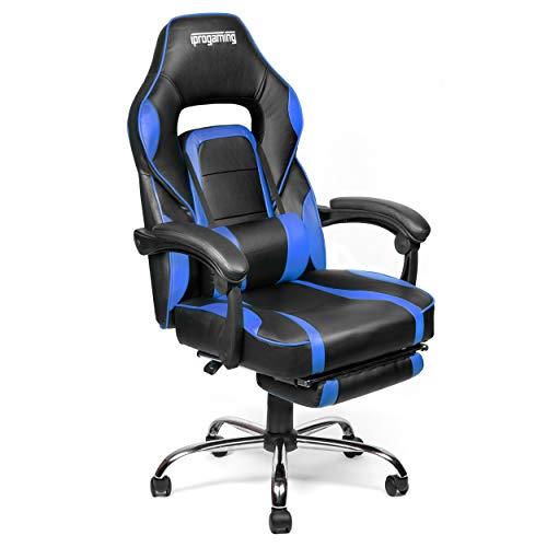 iprotect Gaming-Stuhl – Schreibtisch- und Bürostuhl für Gamer mit Kunstlederbezug und ausziehbarer Fußstütze in Blau und Schwarz|Belastbarkeit bis zu 200 kg