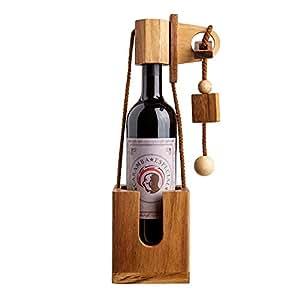 flaschen puzzle aus dunklem edelholz geschenk verpackung f r weinflaschen geduldspiel. Black Bedroom Furniture Sets. Home Design Ideas