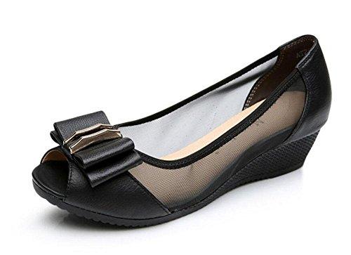 Donne Peep Toe Wedge Sandali Sezione Netta Filati Cuoio Comodo Pattini Casuali Del Cravatta Dell'Arco Scarpe Da Sposa Black