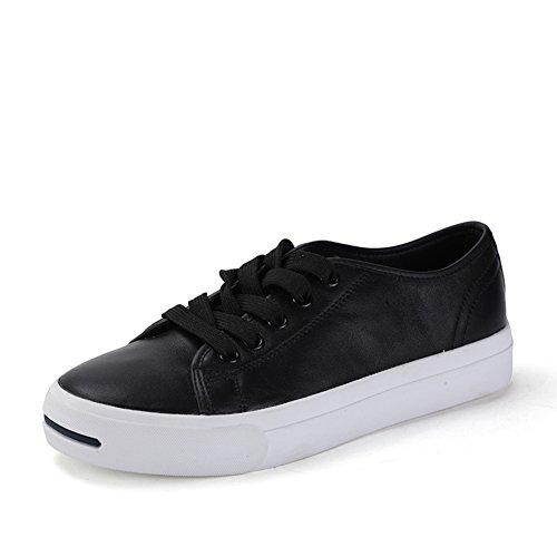 Autunno scarpe aperte/Risata-donna rotonda testa scarpa bassa/Scarpe da skate di pizzo Nero