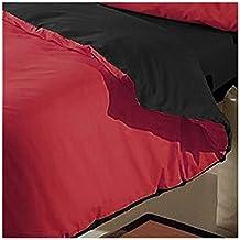 Sabanalia - Funda Nórdica Reversible Combina (Saco reversible) - Cama 135, Negro-Rojo