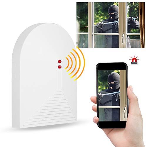 Glasbruchmelder, kabellos – Sicherheits-Alarmanlage für zu Hause, Fensteralarm aus gebrochenem Kristall 433 MHz