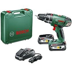 """Bosch Perceuse-visseuse à percussion """"Expert"""" sans fil PSB 18 Li-2, coffret 2 batteries 18V 2,5 Ah, technologie Syneon 060398230C"""