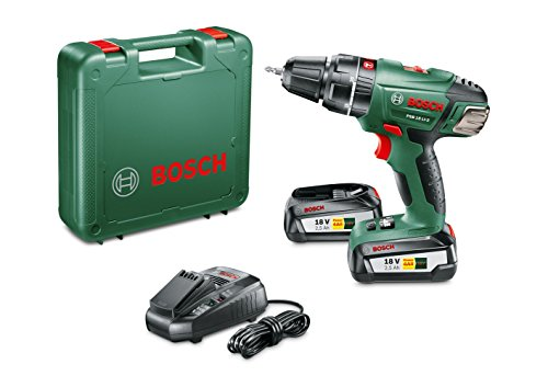 Bosch Perceuse-visseuse à percussion 'Expert' sans fil PSB 18 Li-2, coffret 2 batteries 18V 2,5 Ah, technologie Syneon 060398230C