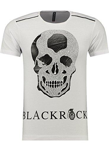 BlackRock Herren T-Shirt Slim Fit Totenkopf Skull Bones Adler - 71316 - WHITE XL