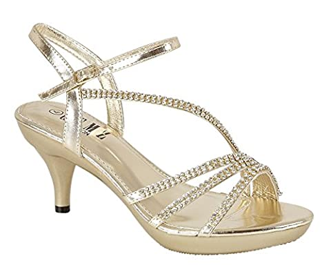 Chic Feet Gold Diamante Evening Wedding Bridal Prom Party Low Heel Sandals - UK Size 4