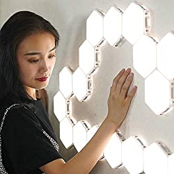 BJZP Quantum Lights DIY Led Lámpara de Pared Hexagonal Creativa Geometría Asamblea LED Luz Nocturna Inteligente Regulable táctil Sensible iluminación Modular,5PCS