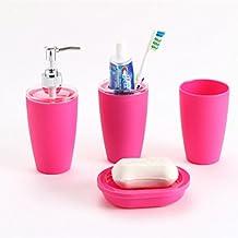 Pixnor 4pc conjunto de accesorio plástico elegante baño jabón plato dosificador Portacepillos (rosa roja)
