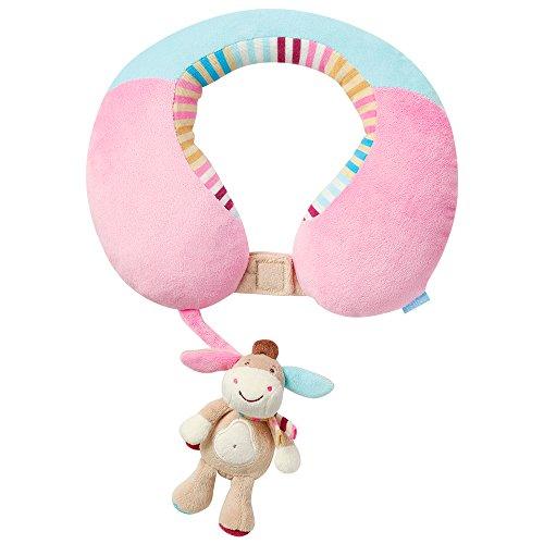 Fehn 081756 Nackenstütze Esel - Nackenkissen mit kleinem Rassel-Esel für Babys und Kleinkinder ab 6+ Monaten - Stützt und entlastet in Kinderwagen, Babyschale oder Auto