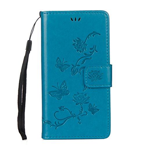 ISAKEN Sony Xperia XA1 Hülle, PU Leder Flip Cover Brieftasche Ledertasche Handyhülle Tasche Case Schutzhülle mit Handschlaufe Strap für Sony Xperia XA1 - Lotus Schmetterlinge Blau