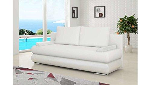 Justhome milo sofà divano singolo divano letto finta pelle(lxlxa): 95x205x90 cm bianco