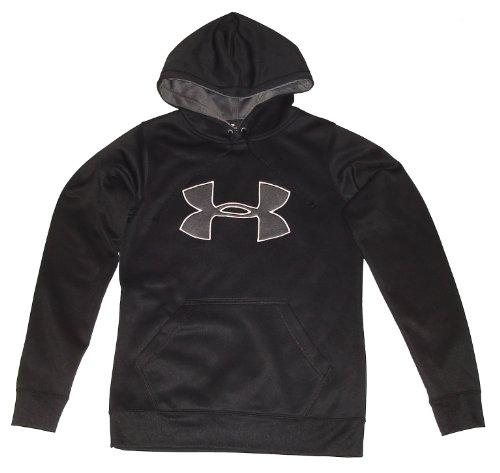 Under Armour Womens UA Armour Fleece Big Logo Hoody Tops (X-Small, Black/Silver/White) -