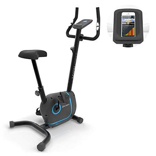 Klarfit Myon Cycle • Heimtrainer • 12kg Schwungmasse • Riemenantrieb mit SilentBelt • 8 Stufen • Pulsmesser im Haltegriff • verstellbare Sattelhöhe • rutschsichere Pedale • Tablet-Halterung • schwarz